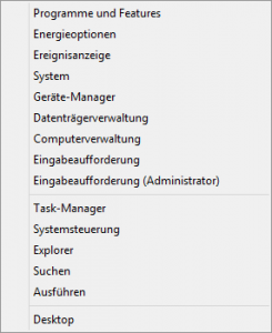 Windows 8 Admin Menu
