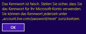 Falsches Passwort Remote Desktop