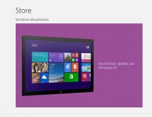 Microsoft Store kostenloses Update auf Windows 8.1