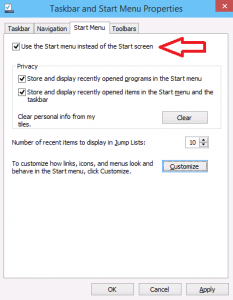 Task Bar and Start Menu Properties